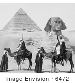#6472 Camels In Front Of The Great Sphinx And Second Pyramid