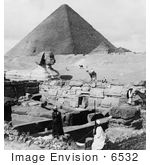 #6532 Granite Temple Sphinx And Great Pyramid
