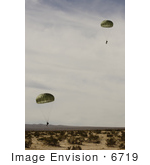 #6719 Army Soldiers Descending To Drop Zone