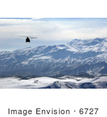 #6727 Military Helicopter Over Afghanistan Mountains