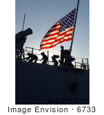 #6733 Raising The American Flag On A Missile Cruiser