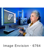 #6764 Picture of a Microbiologist and Electron Microscopist Looking at Bacteria by KAPD