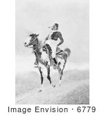 #6779 Comanche Indian on an American Paint Horse by JVPD