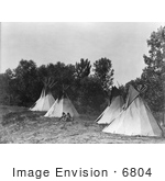#6804 Assiniboine Indian Camp With Tipis