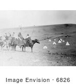 #6826 Atsina Indians On Horses Overlooking Encampment