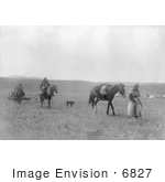 #6827 Atsina Indians With Horses