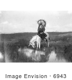 #6943 Stock Image: Cheyenne Native On A White Horse