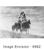 #6962 Stock Image: Cheyenne Native American Warriors On Horses