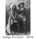 #6978 Stock Photograph of Sitting Bull Standing With Buffalo Bill by JVPD