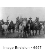 #6997 Crow Indians On Horses Wearing Masks