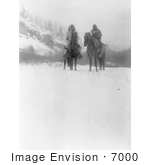 #7000 Two Apsaroke Indian Men On Horses In Winter