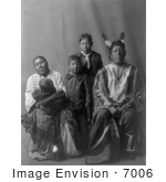 #7006 Stock Image Of Hidatsa Indian Man Called Good Bear With His Fami