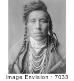 #7033 Stock Photography: Crow Native American Man, Bird on High Land by JVPD