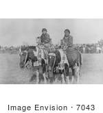 #7043 Stock Photography: Two Crow Indian Girls On Horseback