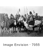 #7055 Stock Photography: 6 Crow Indians On Horseback