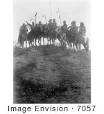 #7057 Stock Photography: 8 Crow Native Americans On Horseback