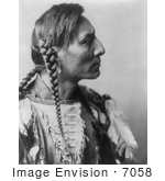 #7058 Mandan Native American Man With Braids, Spotted Bull by JVPD