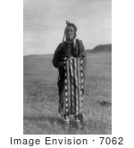#7062 Stock Image Of A Hidatsa Native Man Wrapped In A Blanket