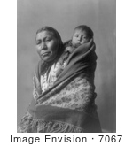 #7067 Stock Image Of A Hidatsa Indian Mother With A Baby On Her Back