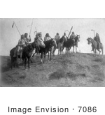 #7086 Apsaroke Natives On Horseback
