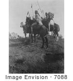 #7088 Stock Photography: Apsaroke Men On Horses Holding Spears