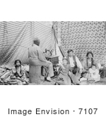 #7107 Stock Photography: Crow Indian Woman Sewing In A Tipi
