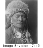 #7115 Stock Photography: Crow Indian Man Called One Blue Bead