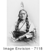 #7118 Stock Photograph Of Sitting Bull Holding A Calumet
