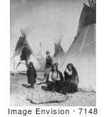 #7148 Stock Image: One Bull And Black Praire Chicken Sioux Indians