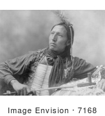 #7168 Stock Image: Sioux Indian Holding A Peace Pipe