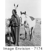 #7174 Stock Image: Sioux Indian Crow Dog With Horse