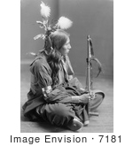 #7181 Stock Image: William Frog, Sioux, Sitting Cross Legged by JVPD
