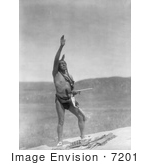 #7201 Stock Image: Dakota Indian Man With Arm Towards Sky