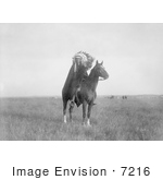 #7216 Stock Image: Sioux Indian Man On A Horse