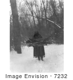 #7232 Stock Image: Sioux Woman Carrying Wood