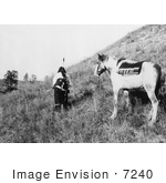 #7240 Stock Image: Sioux Indian And Pony