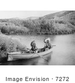 #7272 Stock Image: Lakota Indians in a Canoe by JVPD