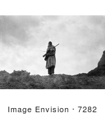 #7282 Stock Image: Sioux Man With Rifle And Bow