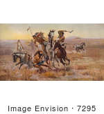 #7295 Sioux and Blackfeet Indian Battle by JVPD