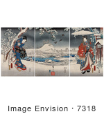 #7318 Photo Of A Geisha Woman In A Gown And A Man Holding An Umbrella In A Snowy Landscape