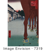 #7319 Photo Of A Horse'S Legs With A View Of Shops Japan