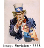 #7338 Stock Picture of Uncle Sam and Rosie the Riveter by JVPD