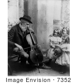 #7352 Stock Picture of Three Girls Watching a Man Playing a Cello by JVPD