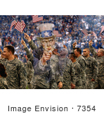 #7354 Stock Image: Uncle Sam Merged With Soldiers Waving American Flags