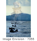 #7355 Stock Image: Uncle Sam Merged With Gulf Of Thailand Amphibious Vehicles