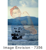 #7356 Stock Photo Of Rosie The Riveter Merged With Amphibious Vehicles