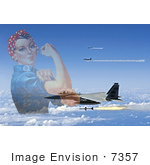 #7357 Rosie The Riveter And F-15 Eagles Firing Aim-7 Sparrow Missiles