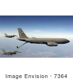 #7364 Stock Image Of F-16 Fighting Falcons Receiving Fuel From A Kc-135 Stratotanker