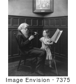 #7375 Stock Image Of An Old Man Playing Violin Girl Turning Sheet Music