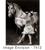 #7412 Stock Photograph Of A Bareback Horse Rider And Horse